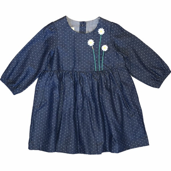 Navy Daisy Polka Dot Dress