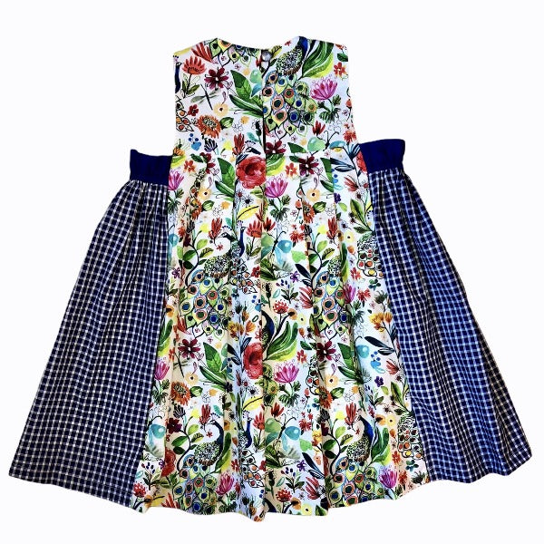 Peacock Print Pleated Cotton Dress