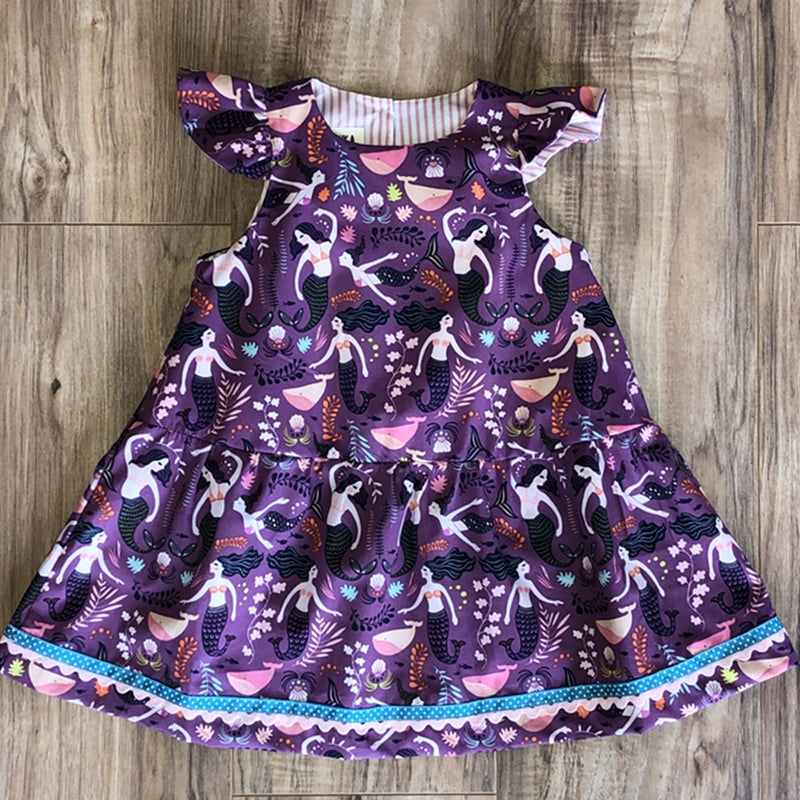 Dancing Mermaids Sleeveless Dress in Purple
