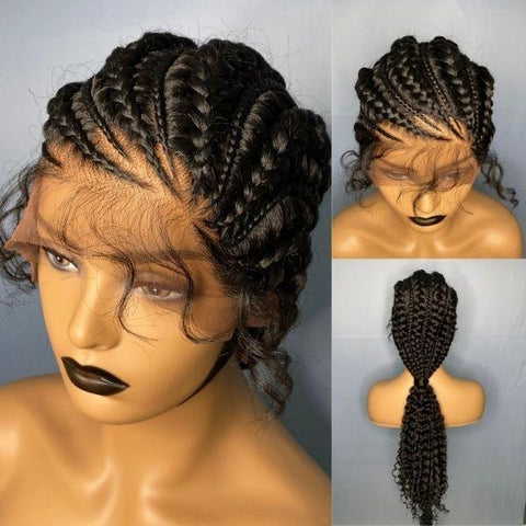 Super Trendy Cornrows to Curly Ponytail Braided Wig