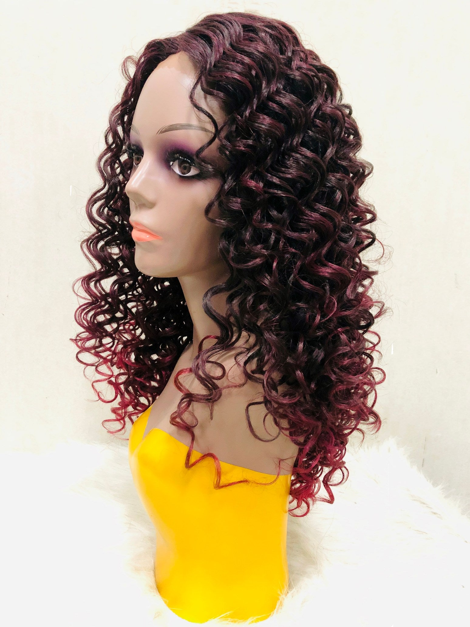 Deep Curly Lace Front Wig - Mixed Color DXT2118 - Ulawig
