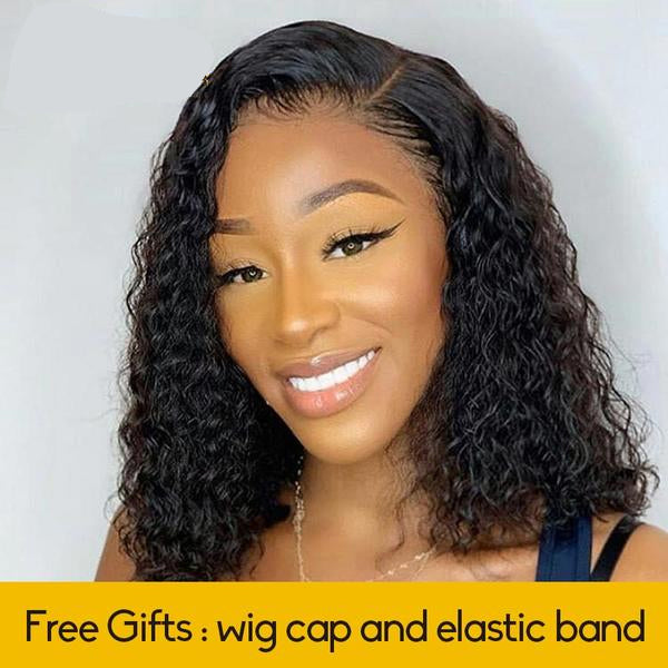 Deep Curly Lace Front Human Hair Wigs - Natural Black Bob Wig - Ulahair