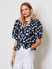 <b>Ghospell</b> Friday Floral Ruffle Blouse