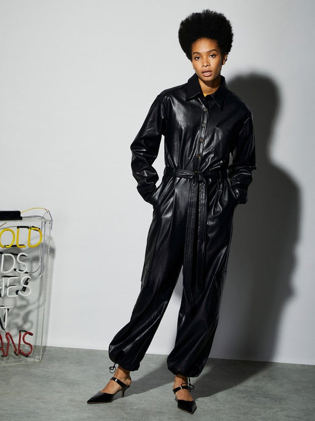 <b>Ghospell</b>  Midnight Faux Leather Jumpsuit
