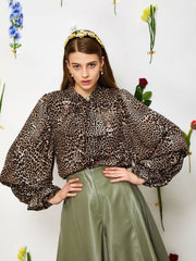 Wild Cameo Bow Blouse