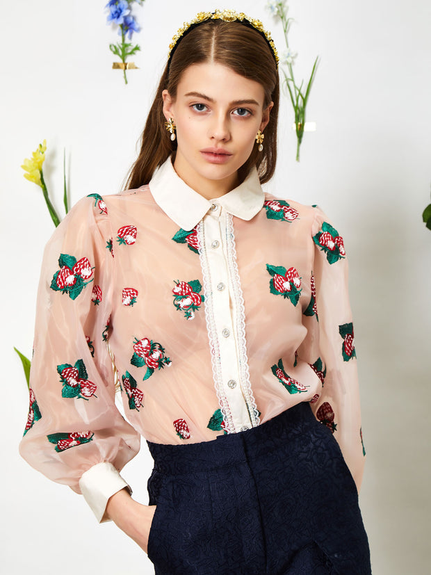 Strawberry Lane Embroidered Blouse