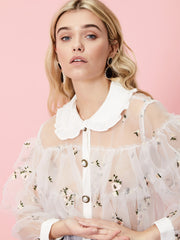 Best Shot Embroidered Ruffle Blouse