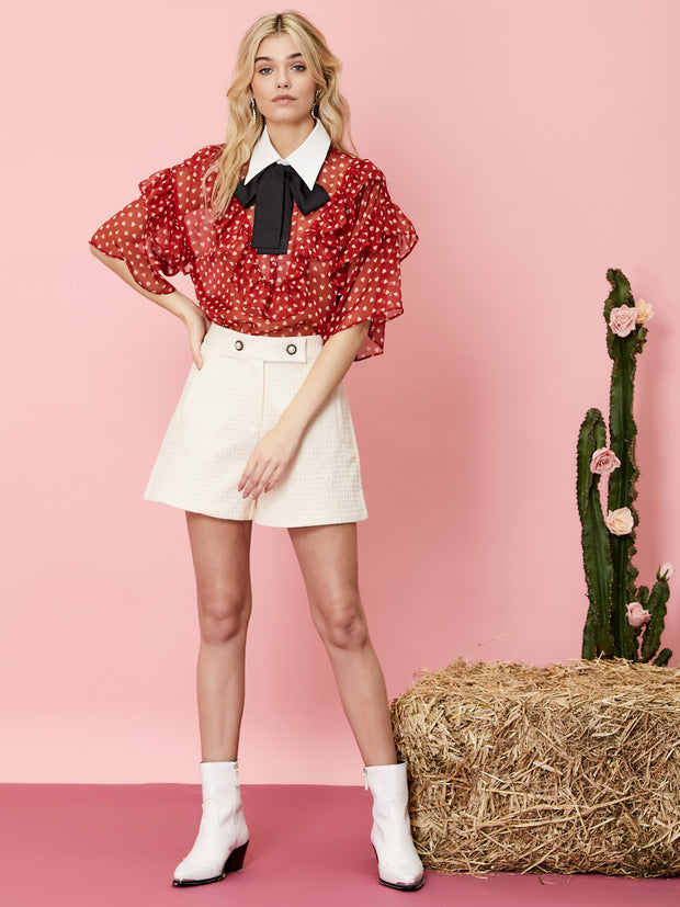 Scarlet Whistle Ruffle Bow Blouse