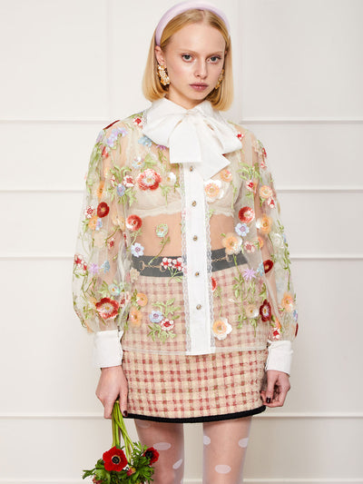 <b>DREAM</b> Anemone Retro Bow Blouse