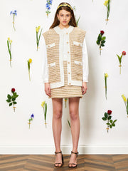 Bird Song Tweed Sleeveless Cardigan