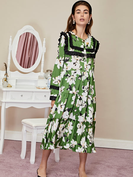 Flora Dorm Ruffle Midi Dress