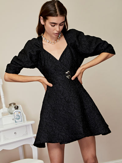 Midnight Jacquard Mini Wrap Dress