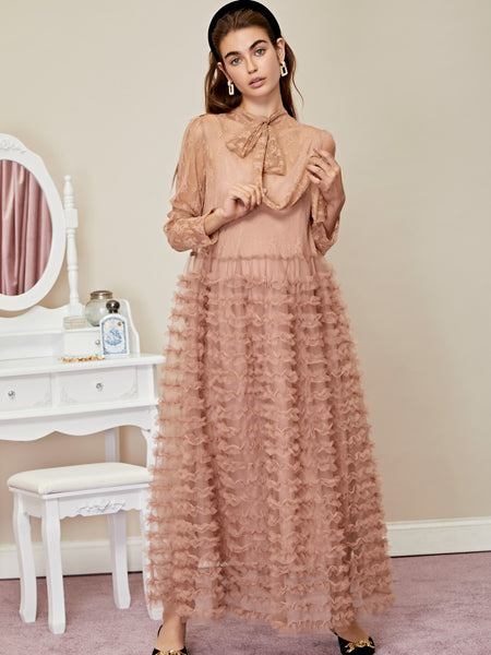 Ornament Ruffle Maxi Dress