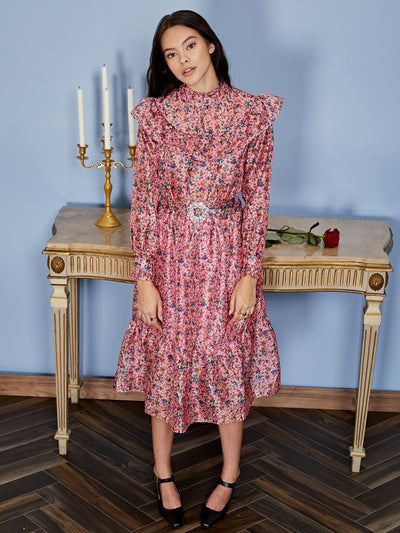 Missy Floral Belted Midi Dress