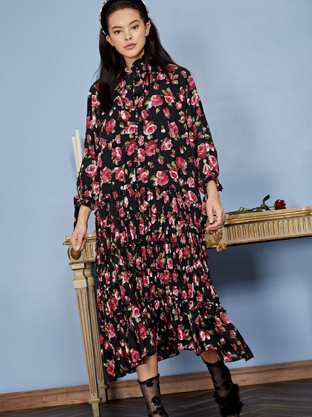 Regal Rose Midi Dress