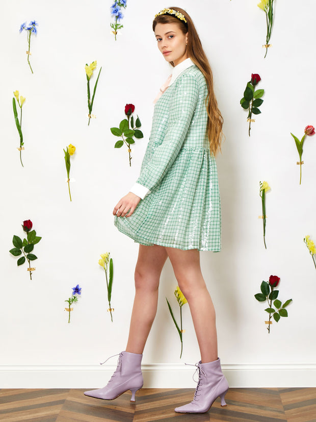 Sea Bloom Sequin Smock Dress