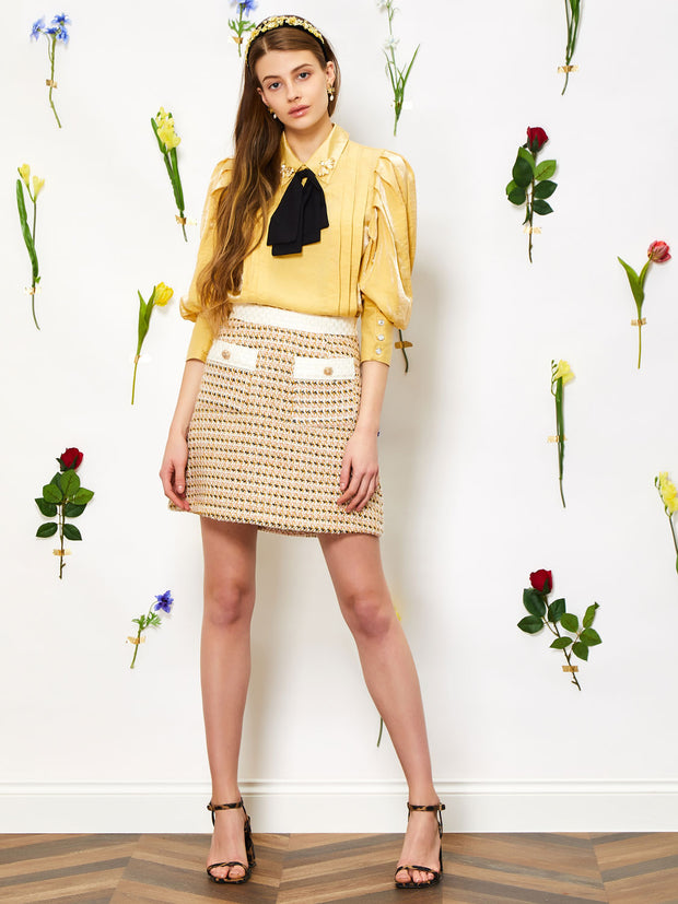 Bird Song Tweed Mini Skirt