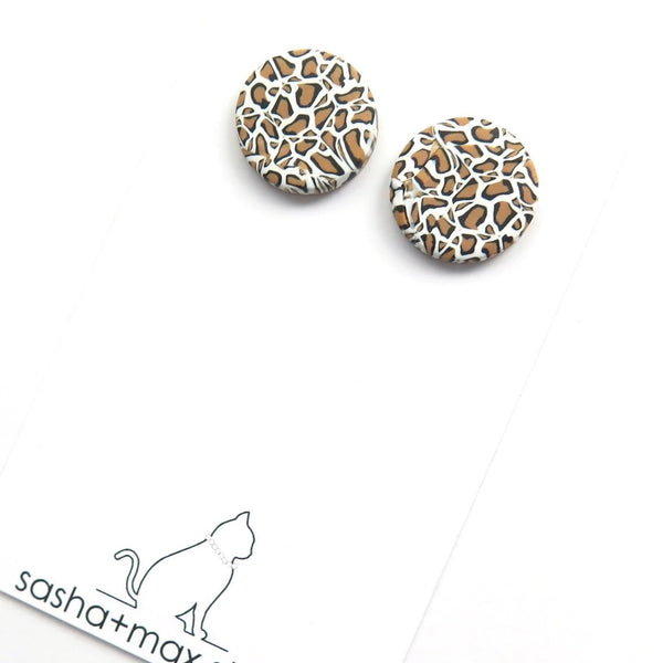 Leopard print stud round earrings