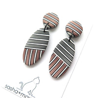 Pinstripe bronze oval statement earrings