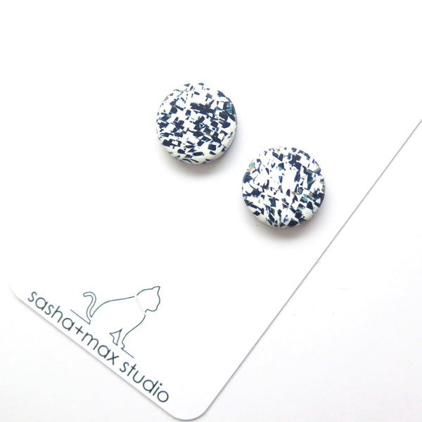 Blue and white abstract pattern stud earrings
