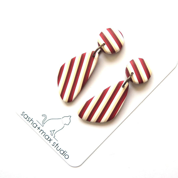 Red vintage stripe wedge statement earrings