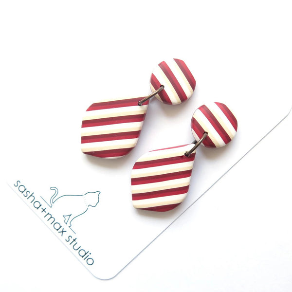 Red vintage stripe leaf drop earrings
