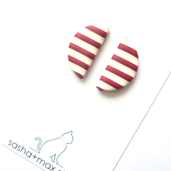 Red vintage stripe semi circle earrings