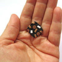 Metallic Confetti black white and bronze square stud earrings
