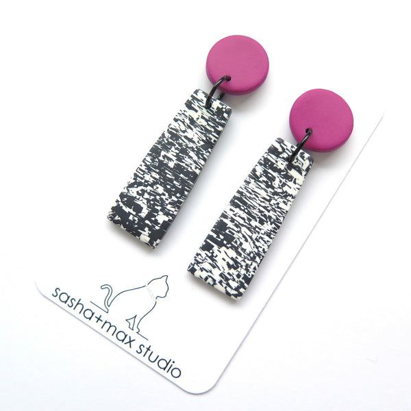 Pixelated black white and pink drop statement earrings