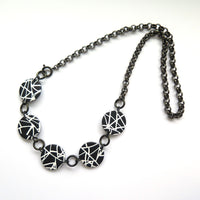 Abstract statement black and white necklace
