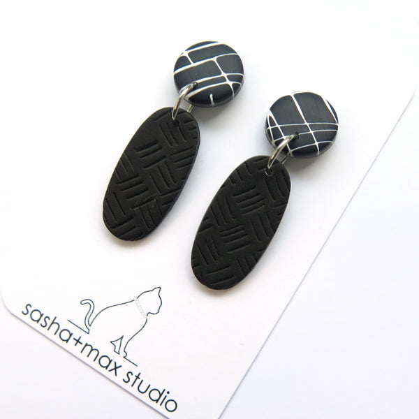 Mokume black and white graphic earrings