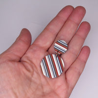 Ticking Stripe Big round polymer clay earrings