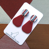 Ticking Stripe pear shape polymer clay earrings