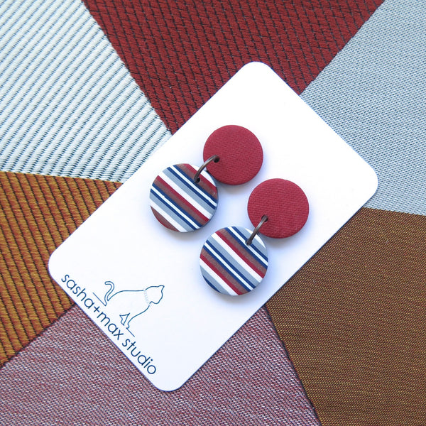 Ticking Stripe small horizontal round polymer clay earrings