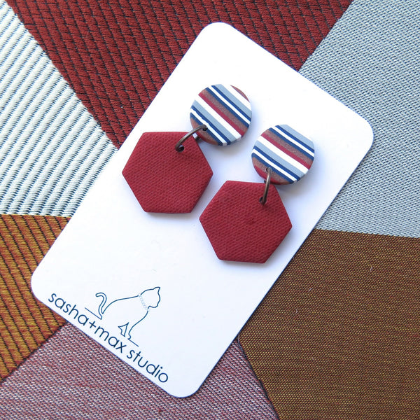 Ticking Stripe Hex shape red polymer clay earrings
