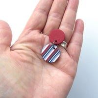 Ticking Stripe small vertical Round  polymer clay earrings