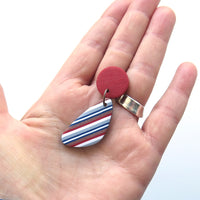 Ticking Stripe leaf shape red polymer clay earrings
