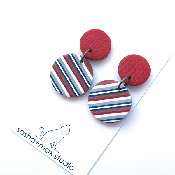 Ticking Stripe Mid Round red polymer clay earrings