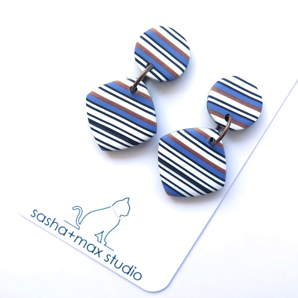 Bronze and Blue Stripe Diamond drop statement earrings