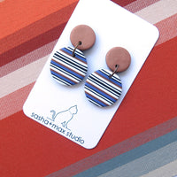Bronze and Blue Stripe Disc drop statement earrings