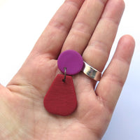 Colour Block Drop Earrings, Fuschia Red