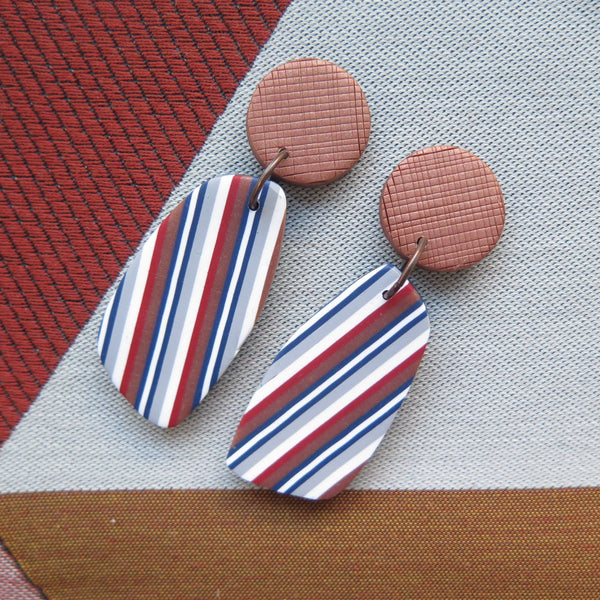 Ticking Stripe Wedge drop polymer clay earrings