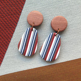 Ticking Stripe pear drop polymer clay earrings