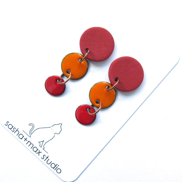 Colour Block Drop Earrings, Red