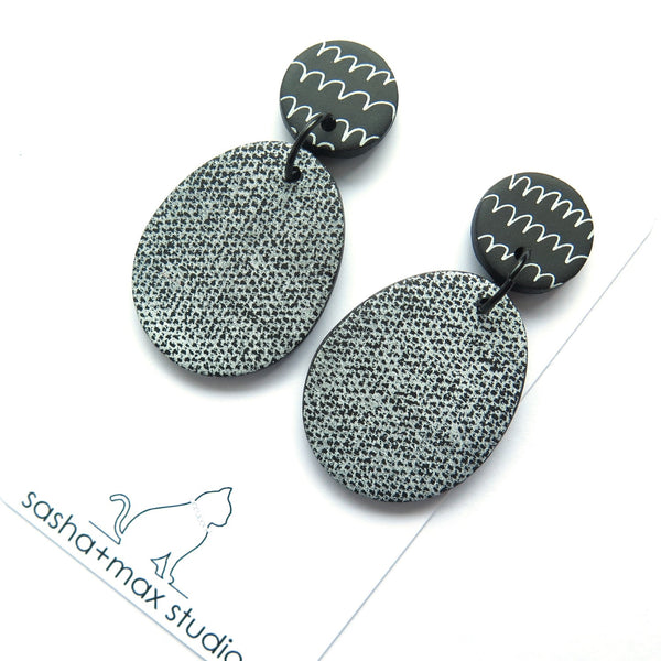 Scribbles and Texture Statement Earrings - pear