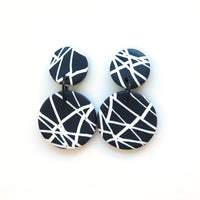 Abstract black and white large disc earrings
