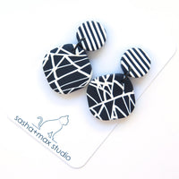 Abstract black and white large diamond shape earrings