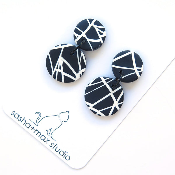 Abstract black and white mini disc earrings