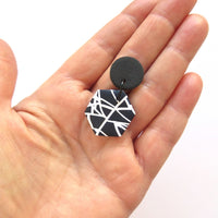 Abstract black and white octagon earrings