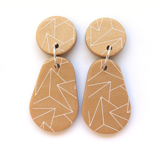 Gold Drop Statement Earrings - zig zag pear